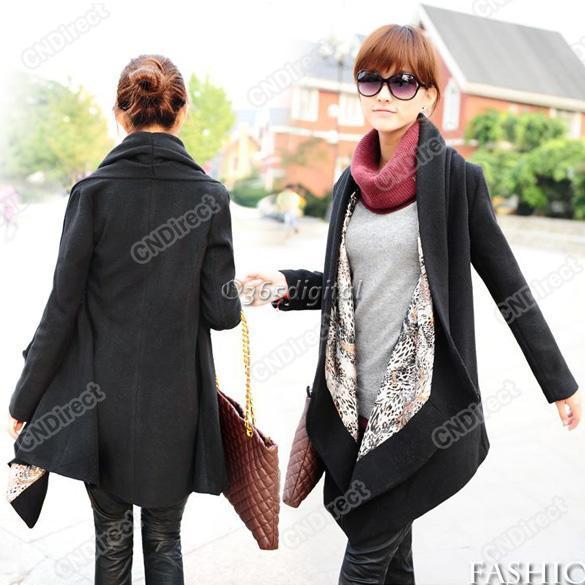 Fashion-Korea-Grace-Women-039-s-Woolen-Winter-Coat-Long-Cape-Clock-Black-Jacket-New