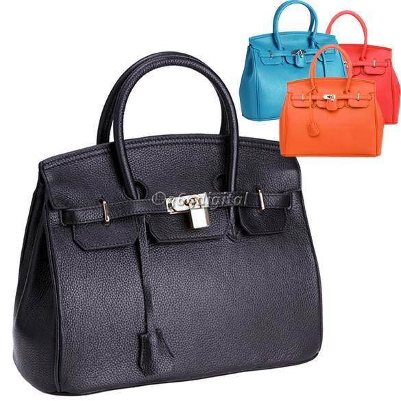 Celebrity-Ladies-women-Designer-Lock-Shoulder-Tote-Bag-Handbag-PU-Leather